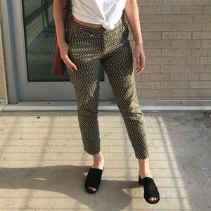 Zara Olive Geometric Patterned Trousers